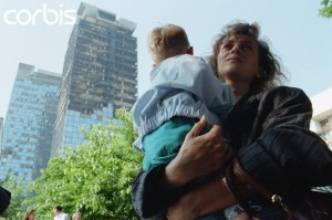 Woman and Child near Bombed-Out Sarajevo Building
